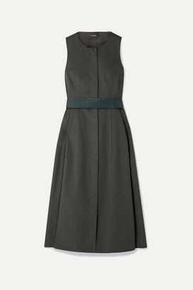 Akris Belted Cotton Midi Dress - Dark green
