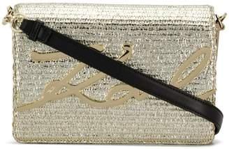 Karl Lagerfeld K/Signature Raffia shoulder bag
