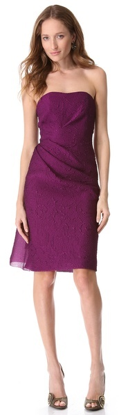Lela Rose Side Ruched Strapless Dress