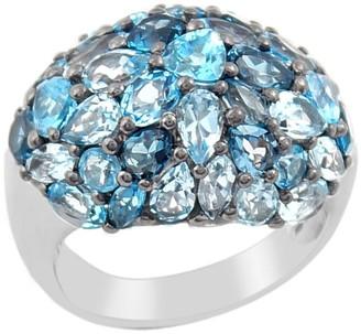 Sterling Blue Topaz Pave Domed Ring
