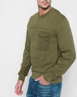 7 For All Mankind Quilted Patchwork Sweatshirt in Army
