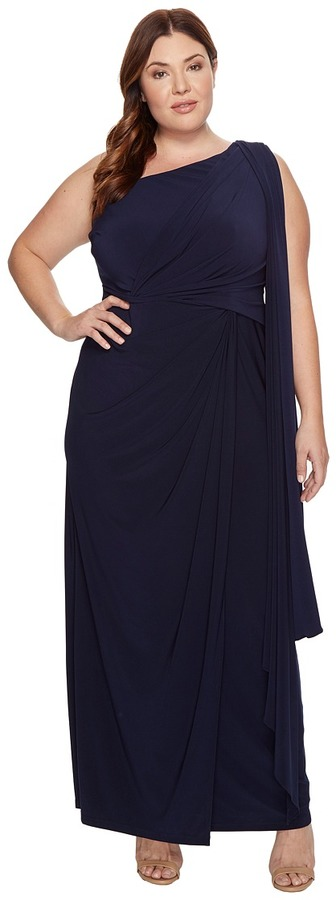 Adrianna PapellAdrianna Papell - Plus Size One Shoulder Jersey Halter Long Gown Women's Dress