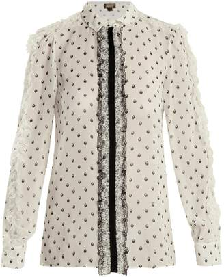 Giambattista Valli Printed lace-trimmed silk blouse