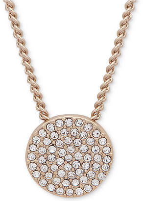 "DKNY Pave Disc 19"" Pendant Necklace"