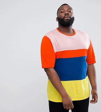 Asos DESIGN Plus oversized t-shirt with half sleeve and bright color block