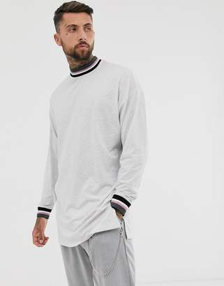 69ff8181f102 Asos Design DESIGN oversized super longline long sleeve t-shirt with side  splits and tipping