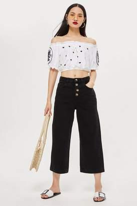 Topshop Black Button Cropped Wide Leg Jeans