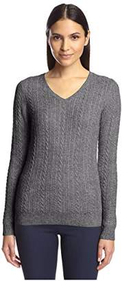 Society New York Women's Cable V-Neck Sweater