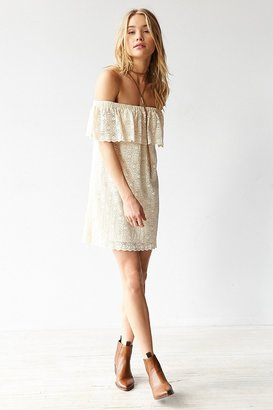 Kimchi Blue Lace Ruffle Off-The-Shoulder Mini Dress $79 thestylecure.com
