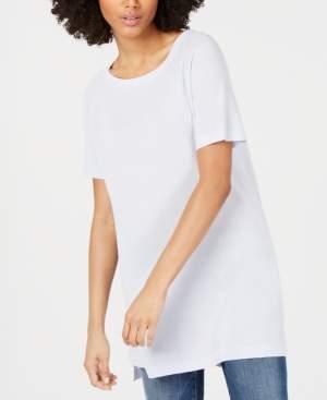 Eileen Fisher Bateau-Neck Short-Sleeve Tencel Tunic