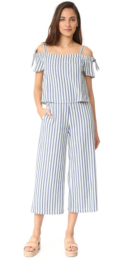 Madewell Striped Cold Shoulder Jumpsuit