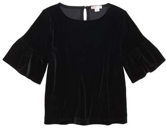 J.Crew crewcuts by Ruffle Sleeve Stretch Velvet Top