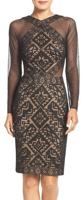 Tadashi Shoji 'Mandy' Embroidered Mesh Sheath Dress $388 thestylecure.com