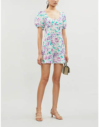 Rixo Morgan floral-print linen and silk-blend mini dress