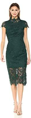 Nicole Miller New York Women's High Neck Fitted Scallop Edge Lace Cocktail Dress
