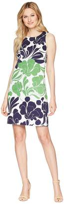 London Times Mod Tulip Cotton Sateen Shift Women's Dress