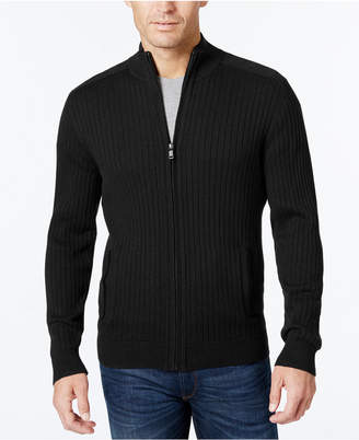 Alfani Men's Ribbed Full-Zip Sweater, Classic Fit, Created for Macy's $70 thestylecure.com