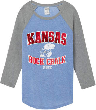 PINK University of Kansas Bling Perfect Baseball Tee