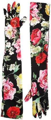 Dolce & Gabbana Floral Printed Charmeuse Long Gloves