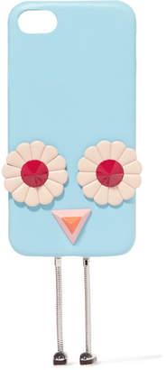 Fendi Blossom Appliquéd Leather Iphone 7 Case - Blue