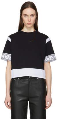 Kenzo Black and White Mix Mesh Boxy Crop T-Shirt