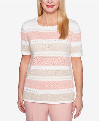Alfred Dunner La Dolce Vita Embellished Pointelle-Knit Sweater