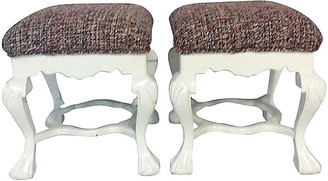 One Kings Lane Vintage Queen Anne Upholstered Benches - Set of 2 - Jacki Mallick Designs