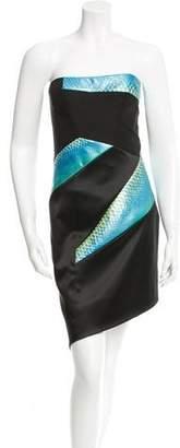 Rubin Singer Python-Trimmed Silk Dress