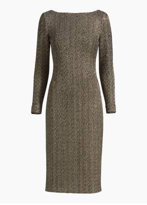 St. John Golden Knit Bateau Neck Dress
