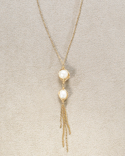 Double Pearl Dangling Necklace by Olia
