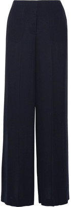 Theory - Ryeridge Silk-crepe Wide-leg Pants - Midnight blue $355 thestylecure.com