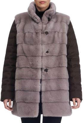 Gorski Horizontal Mink Fur Jacket with Cashmere Quilted Down Back