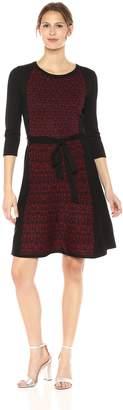 Gabby Skye Women's 3/4 Sleeve Round Neck Knee Length Sweater Fit & Flare Dress