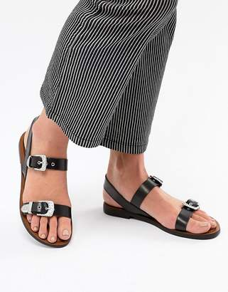 Pull&Bear western buckle sandal in black