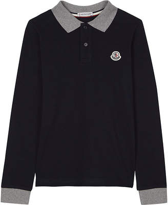 Moncler Long-sleeved cotton polo shirt 4-14 years $94 thestylecure.com