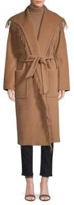 Max Mara Pacos Fringe Trim Belted Camel Hair Coat