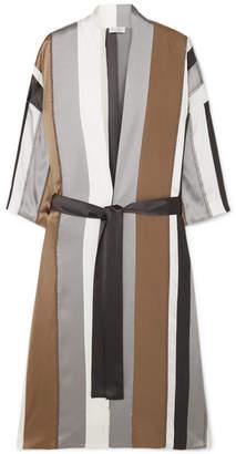 Brunello Cucinelli Bead-embellished Striped Stretch-silk Satin Jacket