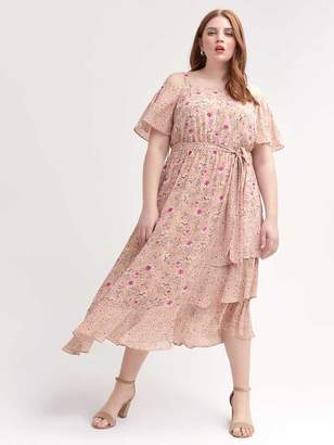 Maxi Dress with Bardot Neckline and Floral Print
