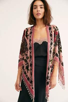 Dahlia Burnout Velvet Butterfly Kimono