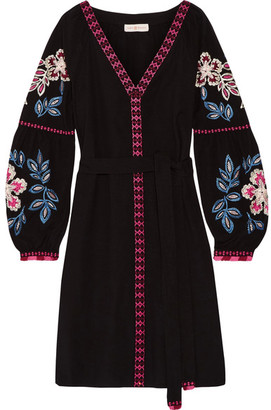 Tory Burch - Therese Embroidered Cotton Mini Dress - Black