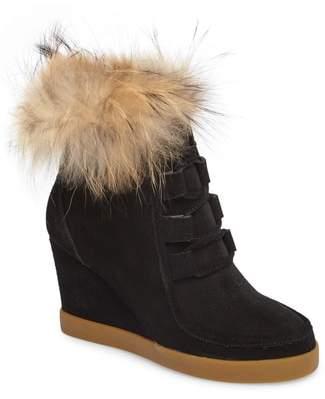 CECELIA NEW YORK Holly Wedge Bootie with Genuine Fox Fur Trim