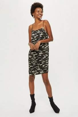 Topshop Tall Camouflage Print Midi Slip Dress