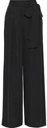 Milly Natalie Belted Crepe De Chine Wide-leg Pants