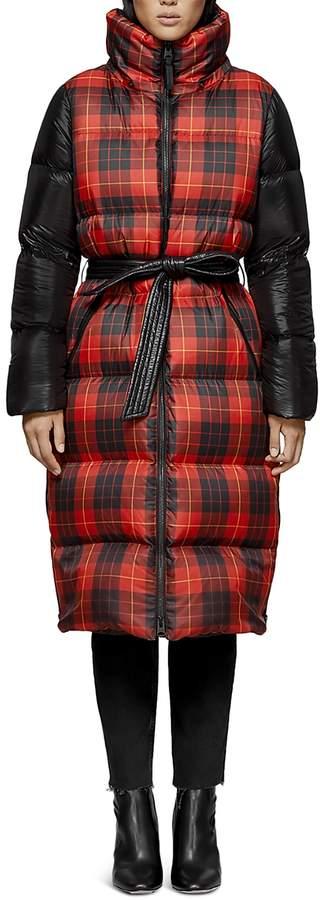 Haiko Plaid Long Down Coat