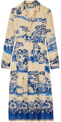 Gucci Pleated Printed Silk-twill Midi Dress - Blue