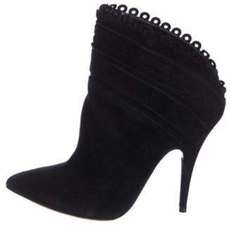 Tabitha Simmons Suede Pointed-Toe Ankle Boots Black Suede Pointed-Toe Ankle Boots