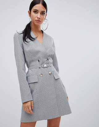 Missguided double breasted blazer dress in gray check
