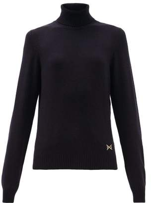 Barrie Logo Plaque Cashmere Roll Neck Sweater - Womens - Dark Navy