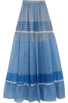 Stella McCartney Elsa Tiered Printed Silk-Blend Chiffon Maxi Skirt