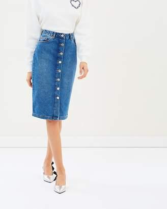Miss Selfridge Button Denim Skirt